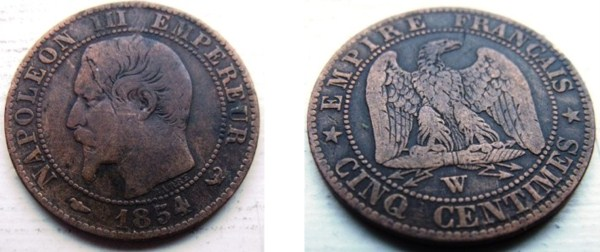 1854 – 5 Centimes – Lille Mint – France   Coins Universe